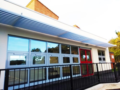 Front of Long Mountain CE Primary School extension