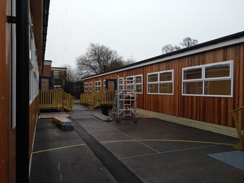 Modular building being completed